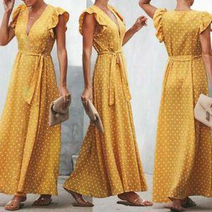 ROBE Robe Femmes Boho robe longue sans manches à pois R