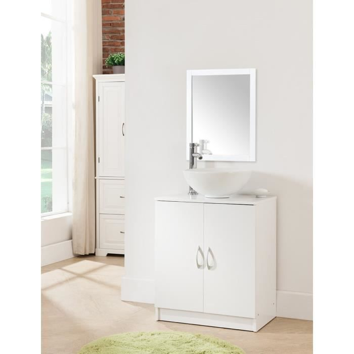 meuble sous vier 60 cm 2 portes blanc achat vente armoire de toilette meuble salle de. Black Bedroom Furniture Sets. Home Design Ideas