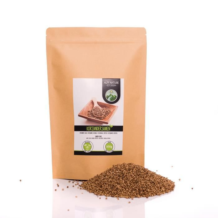 Graines de coriandre (500g), coriandre en graines, coriandre entière, 100% naturelle, bien sûr sans additifs, végétalienne