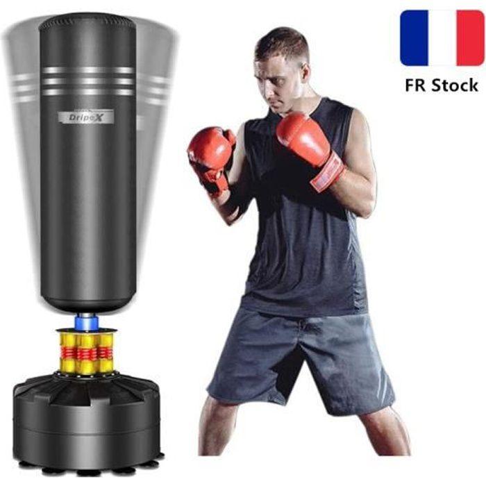 Sac de Frappe Adulte Sac de Boxe sur Pied Sac de Frappe Autoportant Punching Ball 175 cm- Noir