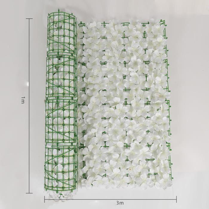 Décoration de clôture en rotin de plante de clôture de fleur artificielle 1m × 3m blanc
