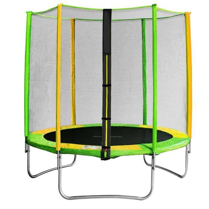 Bilingda® Trampoline Ø 150 cm - Vert et jaune - Avec Filet