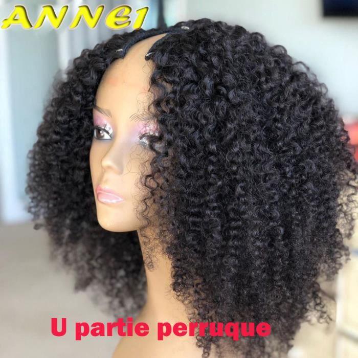 Perruque U Part Brésilienne Naturelle Remy crépue bouclée 18 Pouces cheveux humains sans colle 180 Densité