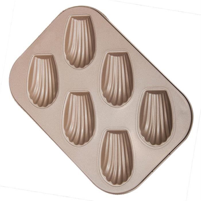 6 Même moule à cake moule moule forme belle modèle en acier au carbone non-bâton Madeleine gâteau moule (Golden)