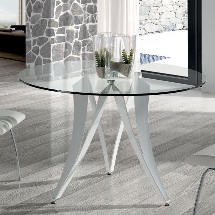 Table à manger ronde design en verre et métal blanc MARION