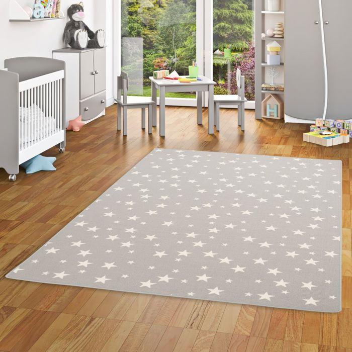 Tapis de jeu pour enfant - motif etoiles - gris [200x300 cm]