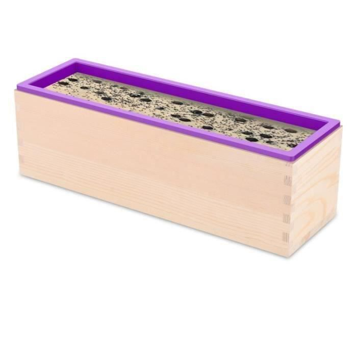 Moule à Savon Violet Boîte de Moule en Silicone Avec Pain de Savon 1,2 kg Moule Rectangulaire Froid