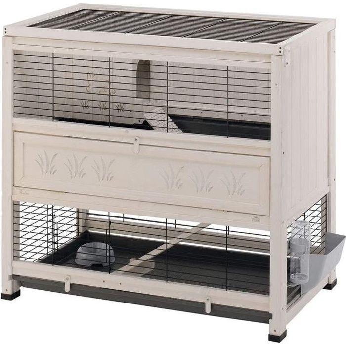 Ferplast Clapier COTTAGE en bois FSC, Cage pour lapins, 2 étages spacieux. Accessoires inclus A76