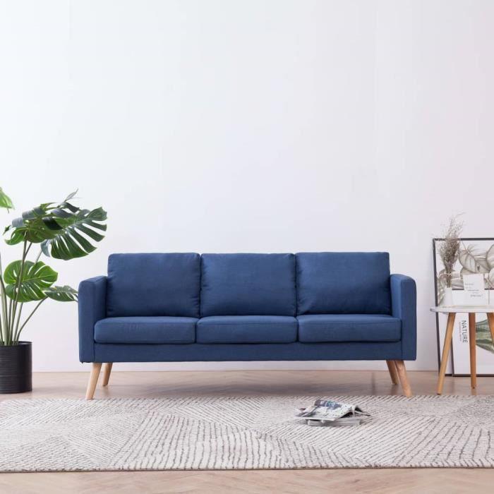 Canapé à 3 places Tissu Bleu Haute Qualité 281356 QI036