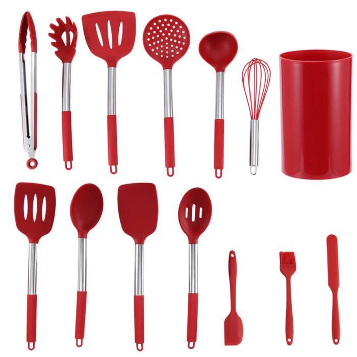 Outils de cuisine 14Pcs Kit d'Ustensiles de Cuisine en Silicone Rouge Ustensiles Antiadhésifs avec Boîte de Rangement pour Cuisine