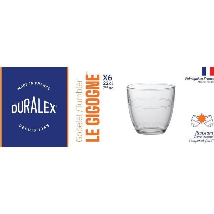 DURALEX Lot de 6 verres gobelets GIGOGNE - 22 cl