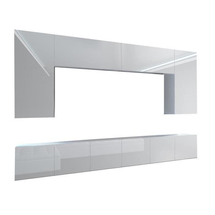 SILLEA - Ensemble meubles TV avec LED - Unité murale moderne - Largeur 300 cm - Mur TV à suspendre - Blanc