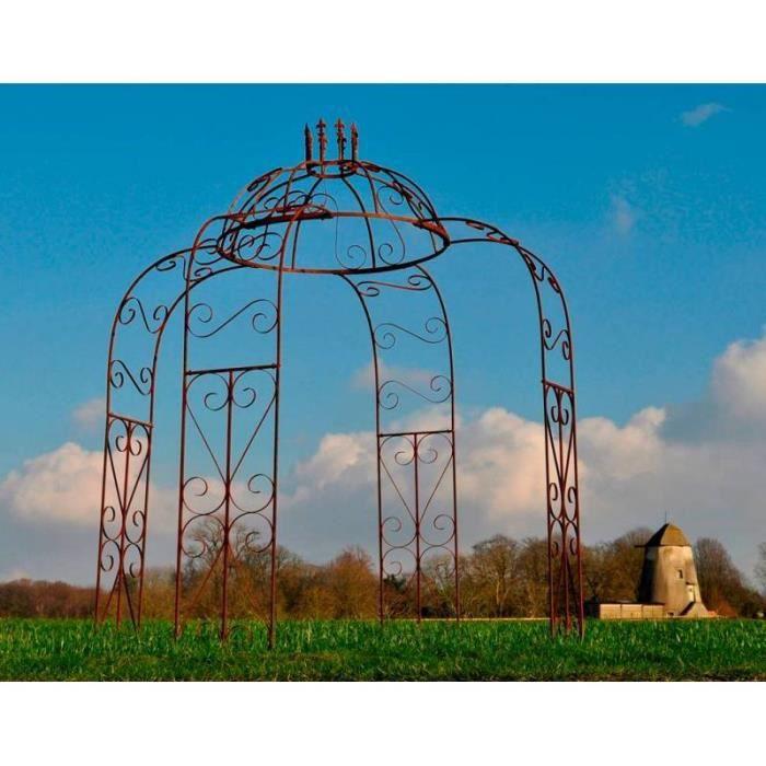 Charmante Gloriette Tonnelle Pergola Arche de Jardin en Acier Oxydé 240x240x300cm 300