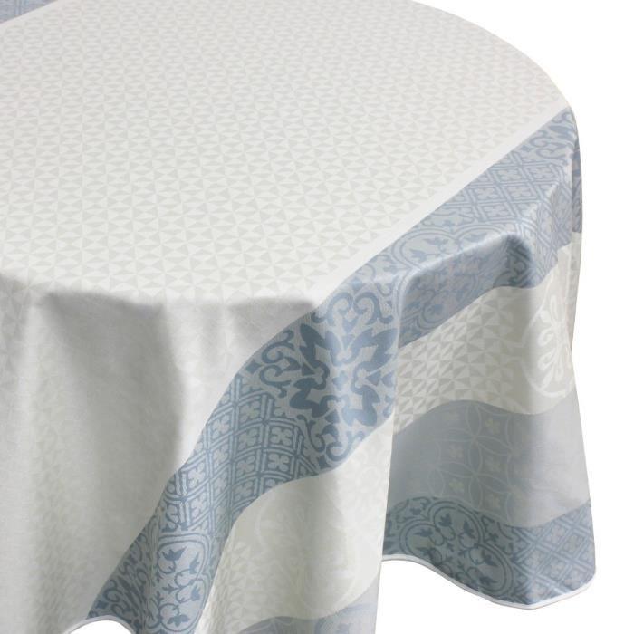 Nappe ovale 170x240 cm Jacquard 100% coton + enduction acrylique MOSAIC PERLE Gris Autre