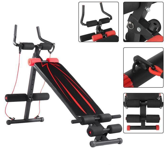 Banc de musculation pliable abdominaux en acier + PU + mousse MAX 250 kg NOIR