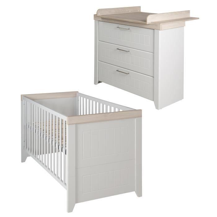 ROBA Ensemble de meubles bébé -Helene-, lit combiné 70x140 cm, commode à langer, gris clair