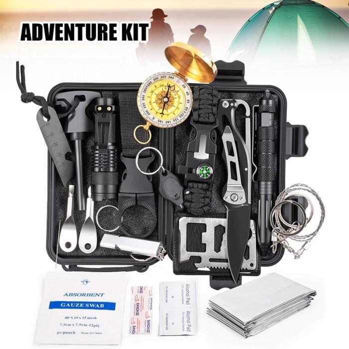 18 en 1 ensemble de survie d'urgence, outil de défense professionnel avec sifflet de lampe de poche couteau ect équipement de survie