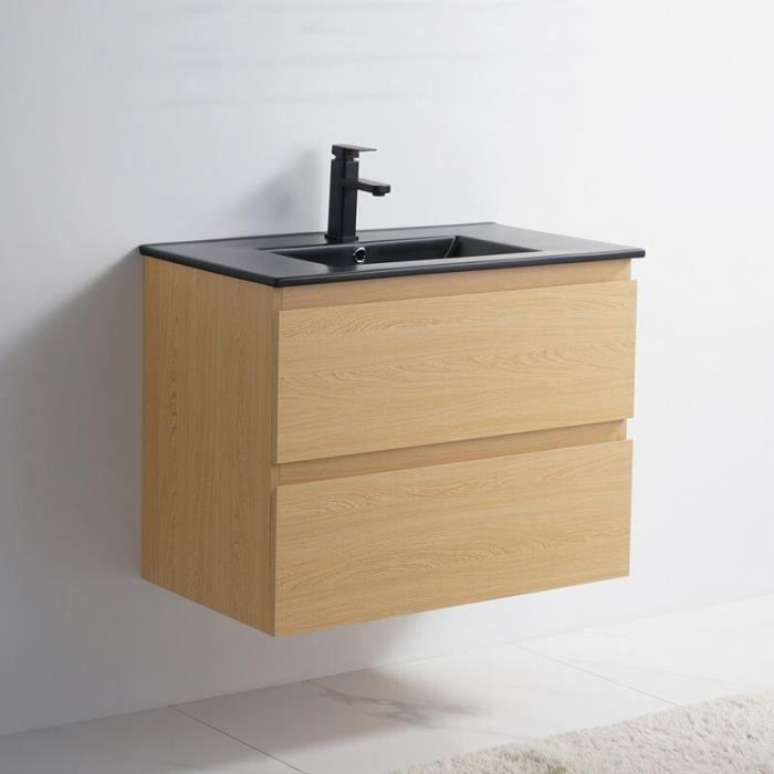 Meuble de salle de bain 2 Tiroirs - Chêne clair - Vasque Céramique Noir Mat - 80x46 cm - Bali