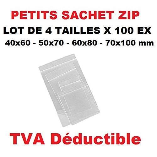 LOT 4 TAILLES DE PETIT SACHET ZIP 100 ex par Format Tailles 40 x 60-50 x 70-60 x 80-70 X 100 mm format = dimensions utile poche inté