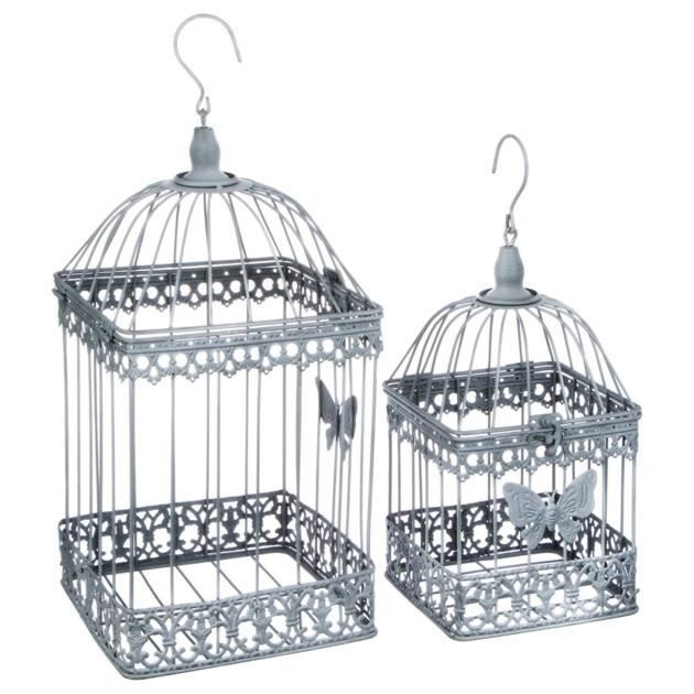 Lot De 2 Cages à Oiseaux Décoratives Style Fer Forgé Gris Patiné Gris