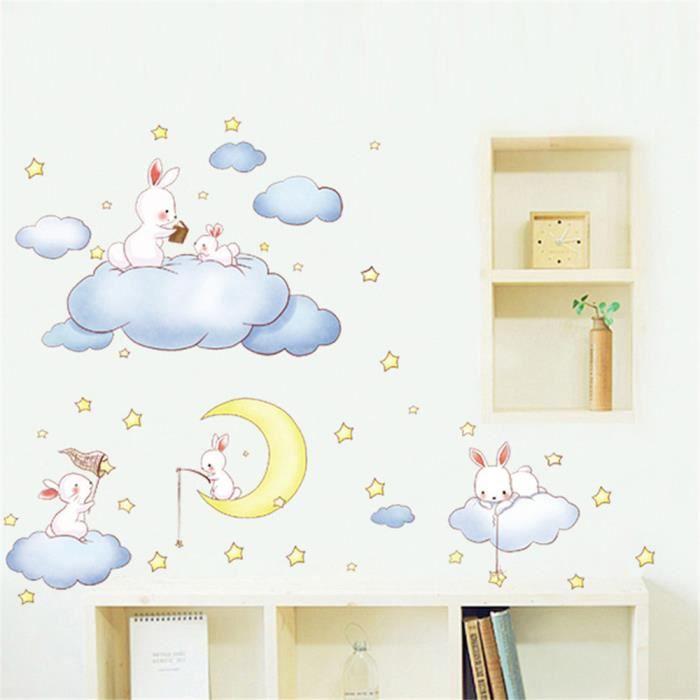 AM9168 dessin animé nuage lapin autocollants chambre d\'enfant fille  princesse bébé chambre décoration aménagement paysager stickers
