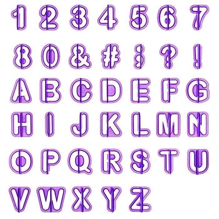 40pcs Emporte Pièce Lettres Alphabet Nombre Découpoirs Pour Décoration Pâte à Sucre Biscuit Gâteau
