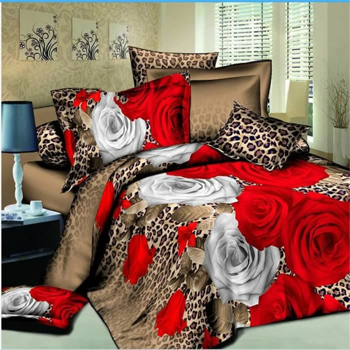 l m sexy l opard rose motif parure de couette parure de. Black Bedroom Furniture Sets. Home Design Ideas
