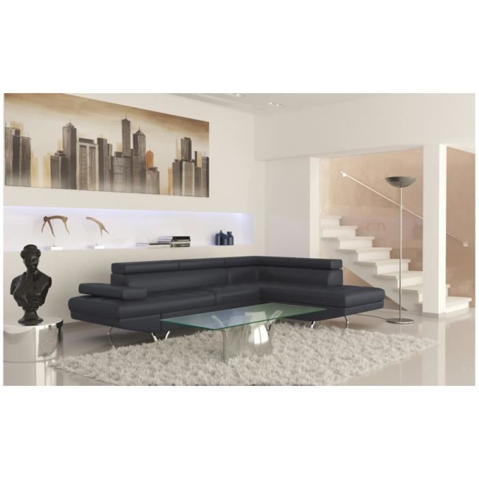 rio canap d angle gauche convertible noir achat vente canap sofa divan cdiscount. Black Bedroom Furniture Sets. Home Design Ideas