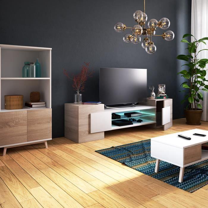Meuble TV / Meuble de salon - CHARLES - 160 cm - effet chêne / blanc - avec  LED - style contemporain - design moderne