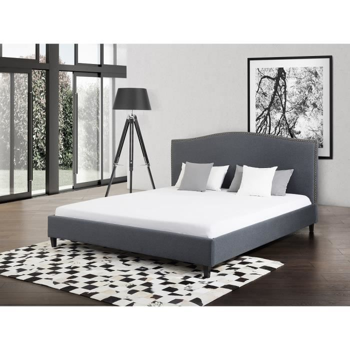 lit en tissu lit double 140x200 cm gris sommier inclus montpellier achat vente. Black Bedroom Furniture Sets. Home Design Ideas