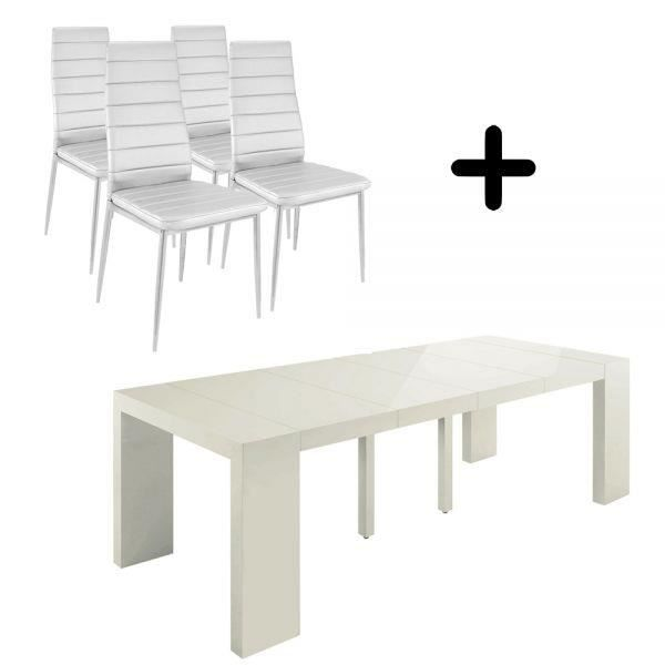 Table console extensible shannon chaises melo achat vente table mang - Table a manger console extensible ...