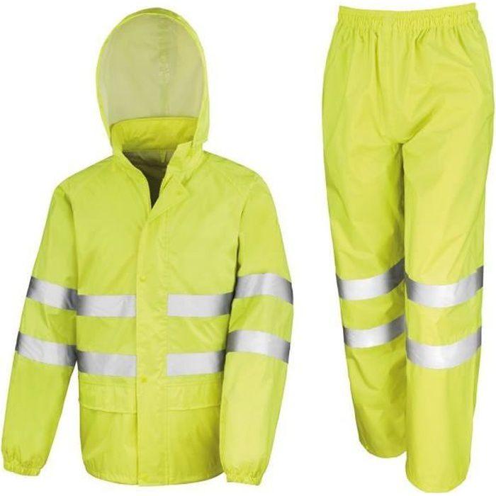 Hi Viz Imperméable Pluie Homme jeu Haute Vis Visibilité Veste Pantalon Travail Kit