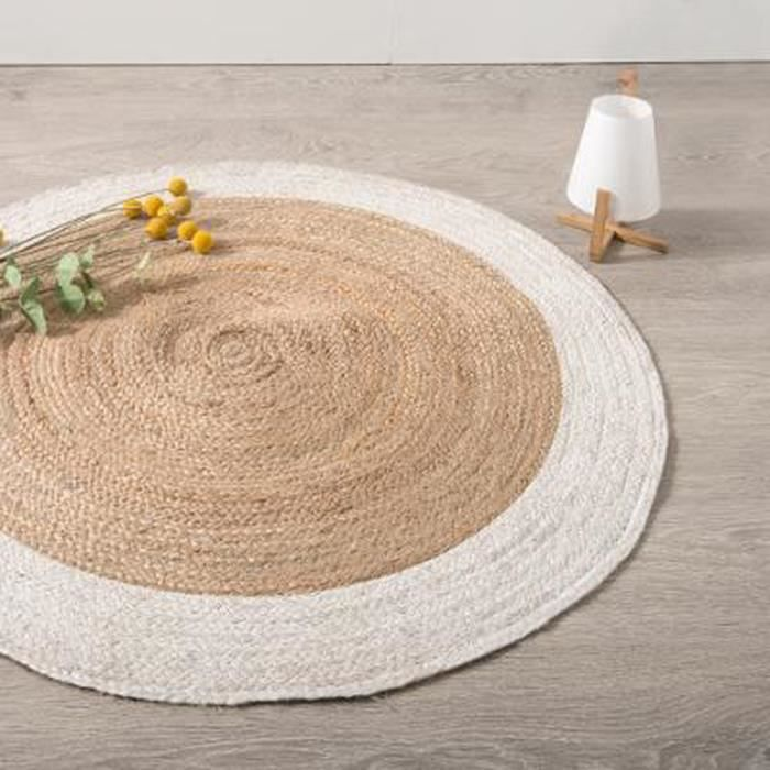 tapis rond en jute coloris blanc et naturel diam tre 120 cm achat vente tapis de sol. Black Bedroom Furniture Sets. Home Design Ideas