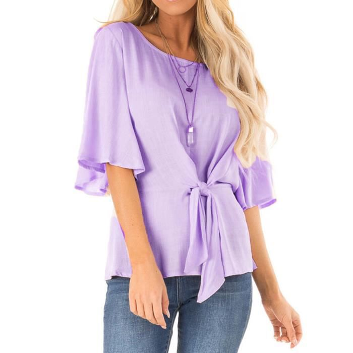 Casual Tie Chemisier longues Rond Solide shirt Mi Femmes Mode Col T Top Violet Manches xqwnayv4fA