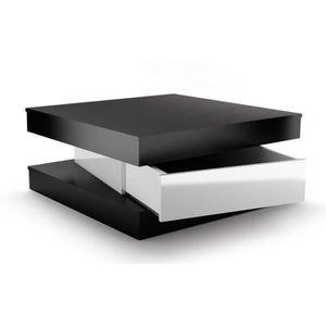 TABLE BASSE FIXY Table basse carrée style contemporain noir et