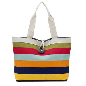 SAC SHOPPING Dame colorée rayures shopping sac à main épaule to