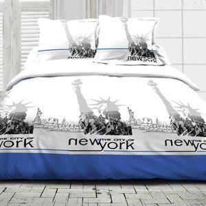 HOUSSE DE COUETTE ET TAIES Parure de couette NYC coton - bleu - housse-de-cou