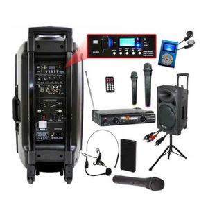 PACK SONO IBIZA PORT 15 VHF BT + PIED + CÂBLE PC + HOUSSE +