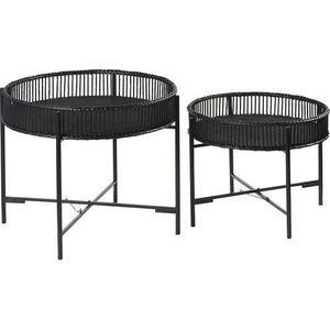 PLAT DE SERVICE Ensemble de deux tables plateau bambou  noires 49x