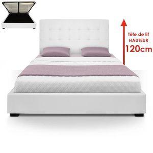 STRUCTURE DE LIT Lit Coffre Trevene + Sommier 160cm Blanc