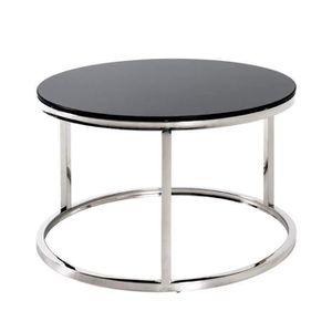 TABLE D'APPOINT Table d'appoint en verre superposé noir - Diam 60