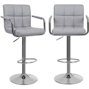 TABOURET DE BAR SONGMICS Lot De 2 Tabourets Bar Gris Haut Chais