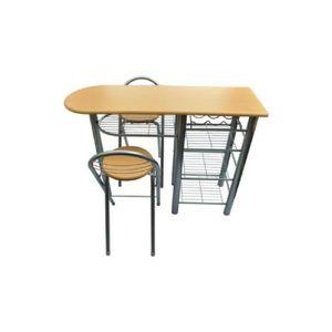 TABLE À MANGER COMPLÈTE Ensemble Table de petit-déjeuner/bar avec 2pcs Cha