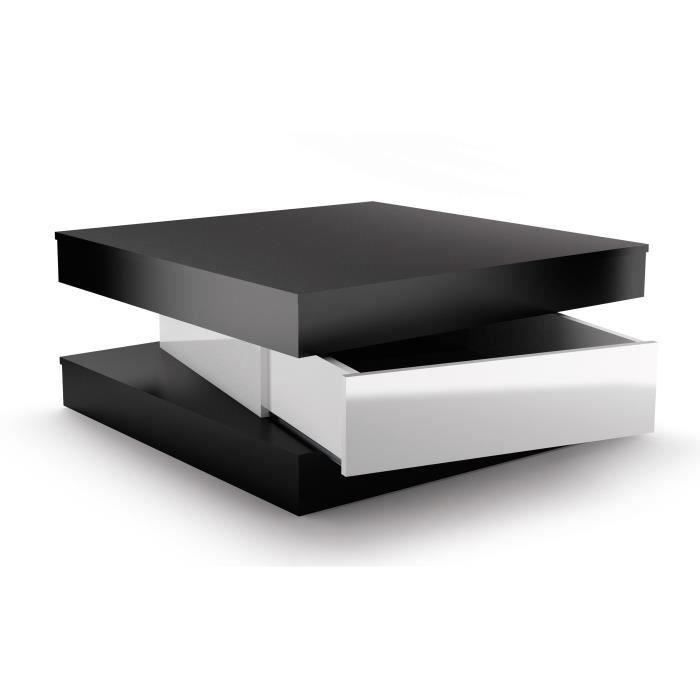 fixy table basse 80 cm noir et blanc brillant achat. Black Bedroom Furniture Sets. Home Design Ideas