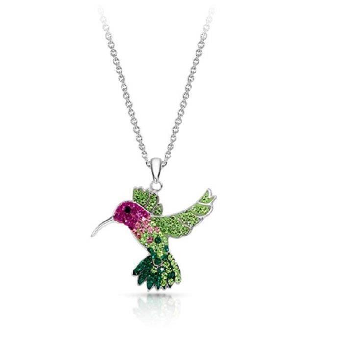 Collier FUGUQ  pendentif en cristal colibri volant coloré ne rouille jamais en argent sterling 925 pour les adolescents, naturel et