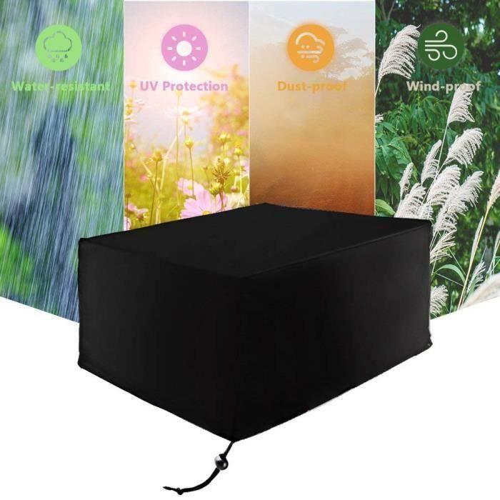 Housse de protection meubles de jardin 242x162x100cm bâche rectangulaire imperméable anti-poussière