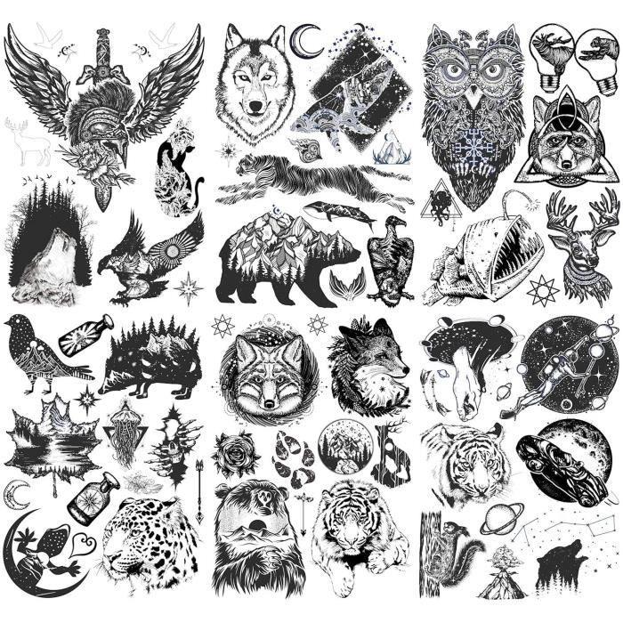 Konsait 6 Feuilles Noir Autocollants Tatouage Temporaire Pour Adultes homme Femme Dragon Loup Lion Tigre Hibou wapiti Aigle p[1160]