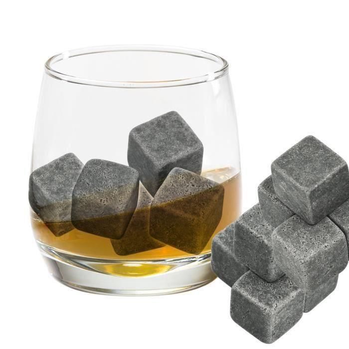 ChangM - 9pcs Whisky Pierres Ice Cubes Glaçons , stéatite Glacons en Pierre avec sac de cordon refroidisseurs de boissons