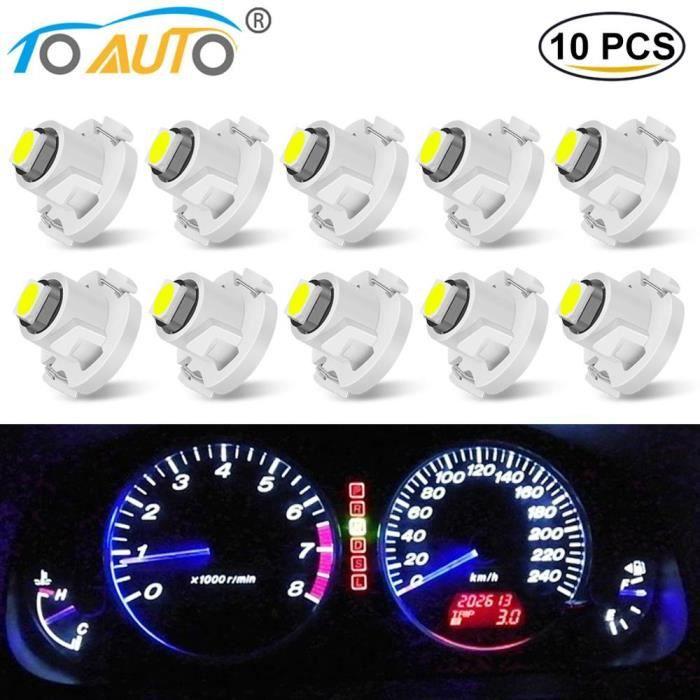WHITE T4.2 -Ampoule Led Super brillante T3 T4.2 T4.7, 10 pièces, 3030 puces, tableau de bord de voiture, lampe de tableau de bord au