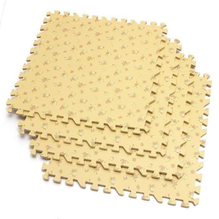 4PCS Eva Tapis Sol Plancher Mousse Bébé 600x600mm jaune Ve74459